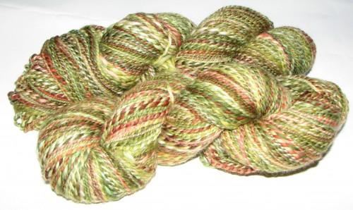 green and red variegated superwash merino handspun yarn